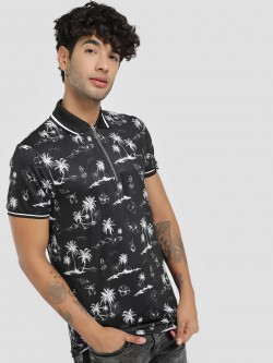 KOOVS Tropical Zip-Up Polo Shirt