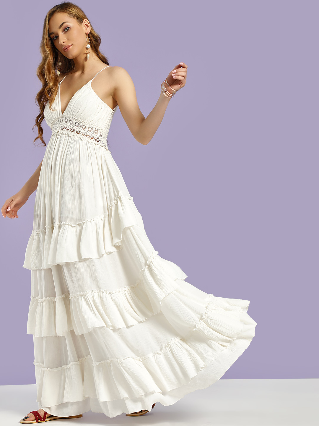 KOOVS White Lace Backless Tiered Maxi Dress 1