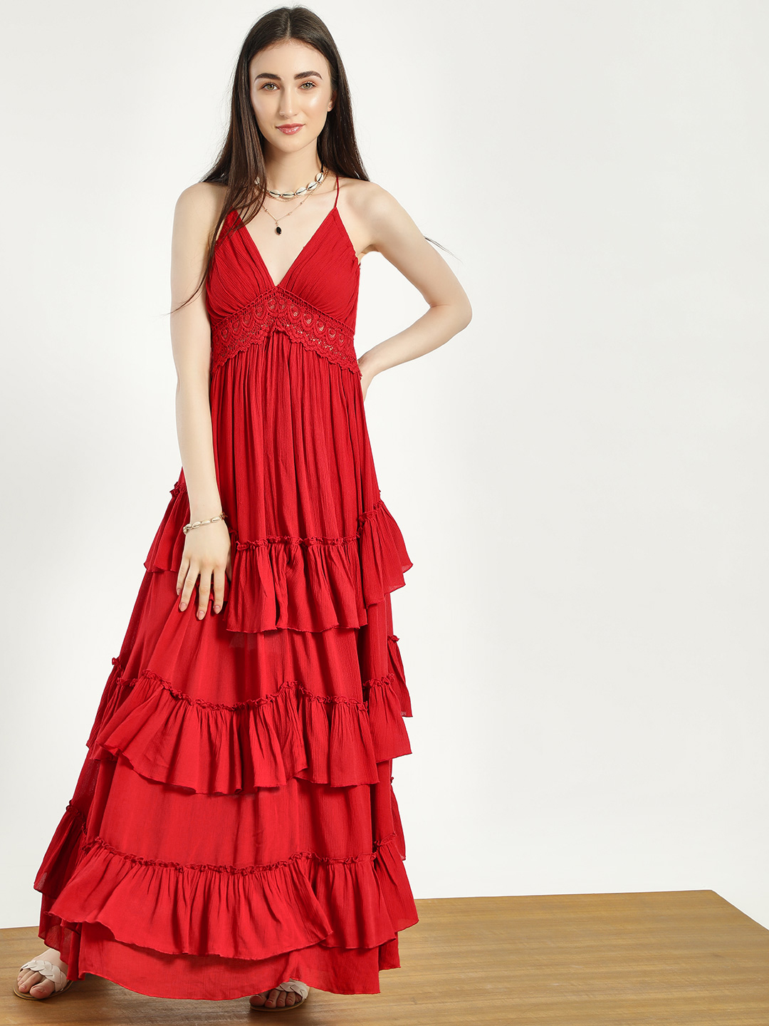 KOOVS Red Lace Backless Tiered Maxi Dress 1