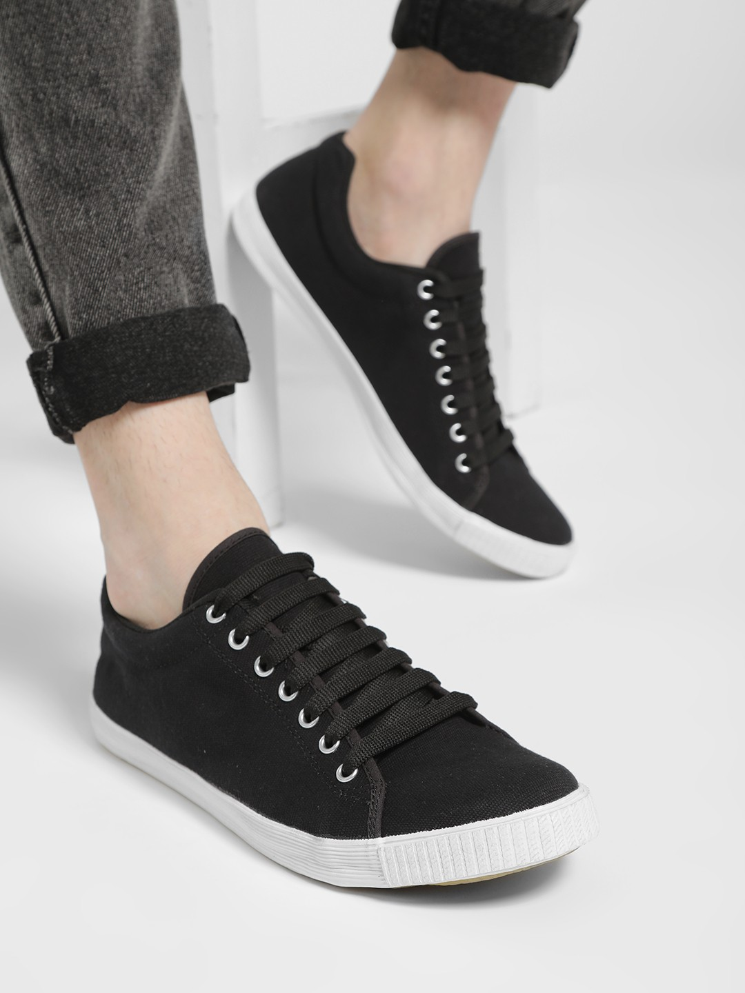 KOOVS Black Lace-Up Gusset Sneakers 1