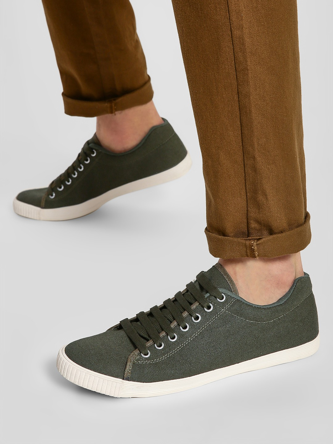 KOOVS Olive Basic Lace-Up Sneakers 1