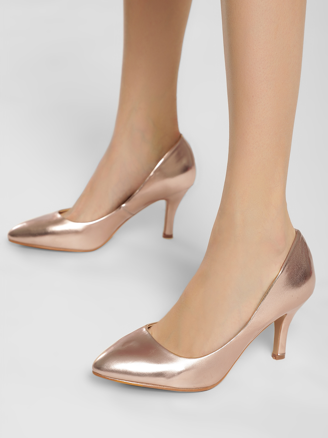 Truffle Collection Rose Gold Basic Patent Pumps 1
