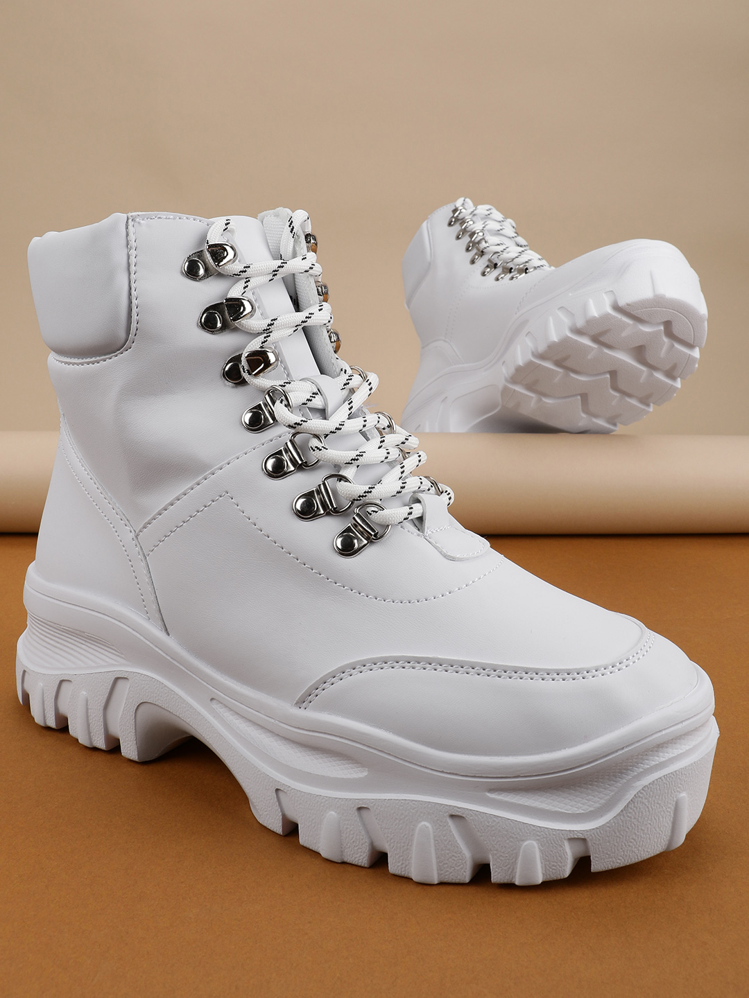 Truffle Collection White Chunky Sole Hiking Boots 1
