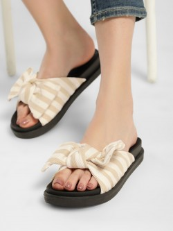 Truffle Collection Striped Bow Detail Slides