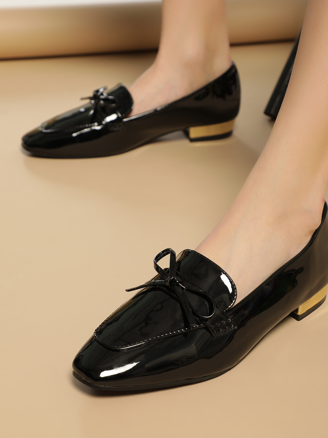Truffle Collection Black Patent Bow Detail Flat Shoes 1