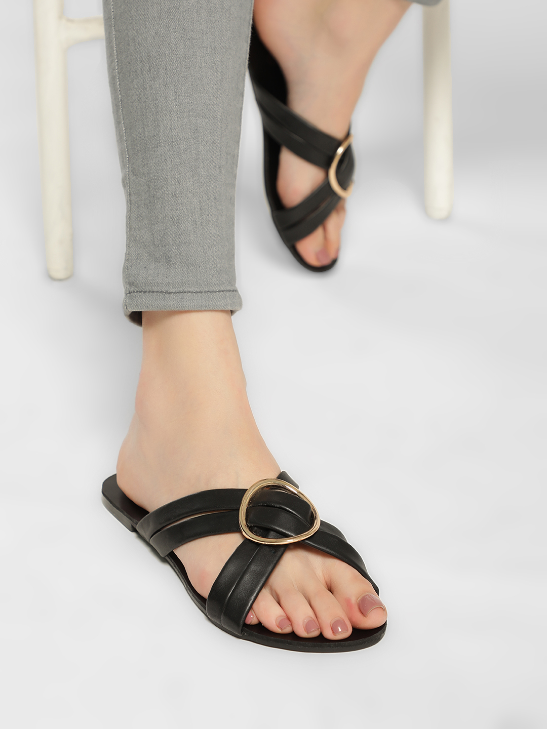 Truffle Collection Black D-Ring Cross-Strap Flat Sandals 1