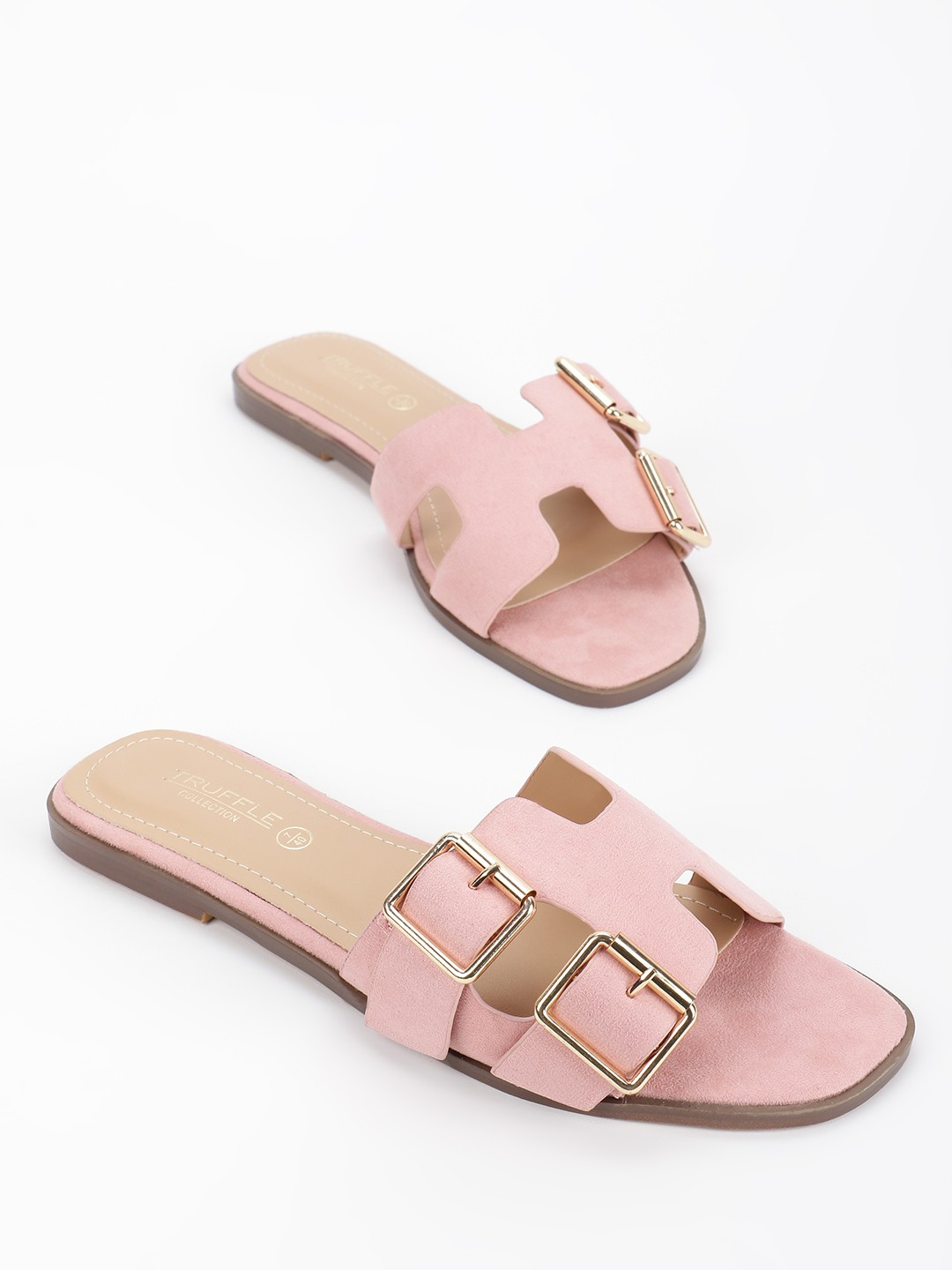 Truffle Collection Pink H-Shape Buckle Detail Flat Sandals 1