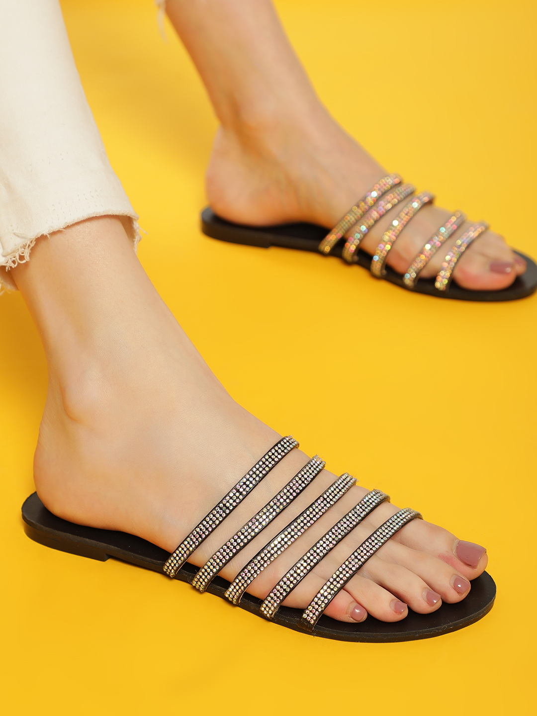 Truffle Collection Black Embellished Multi Strap Slides 1