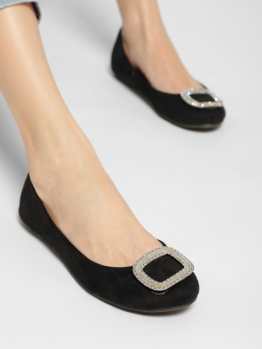 Truffle Collection Black Embellished Buckle Detail Ballerinas 1