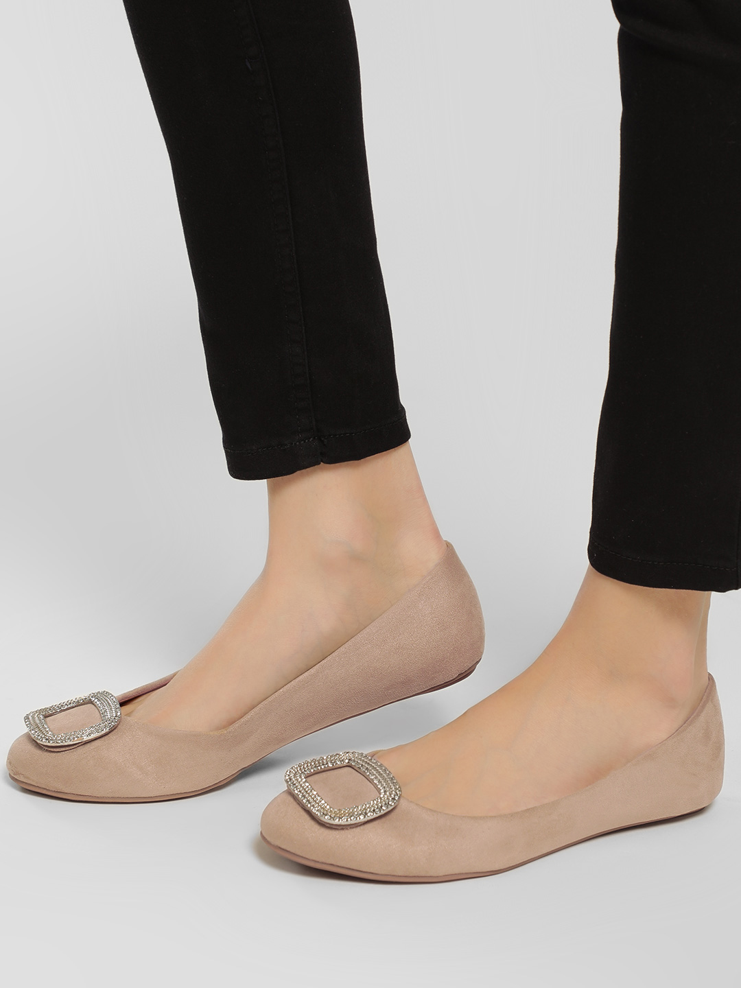Truffle Collection Camel Embellished Buckle Detail Ballerinas 1