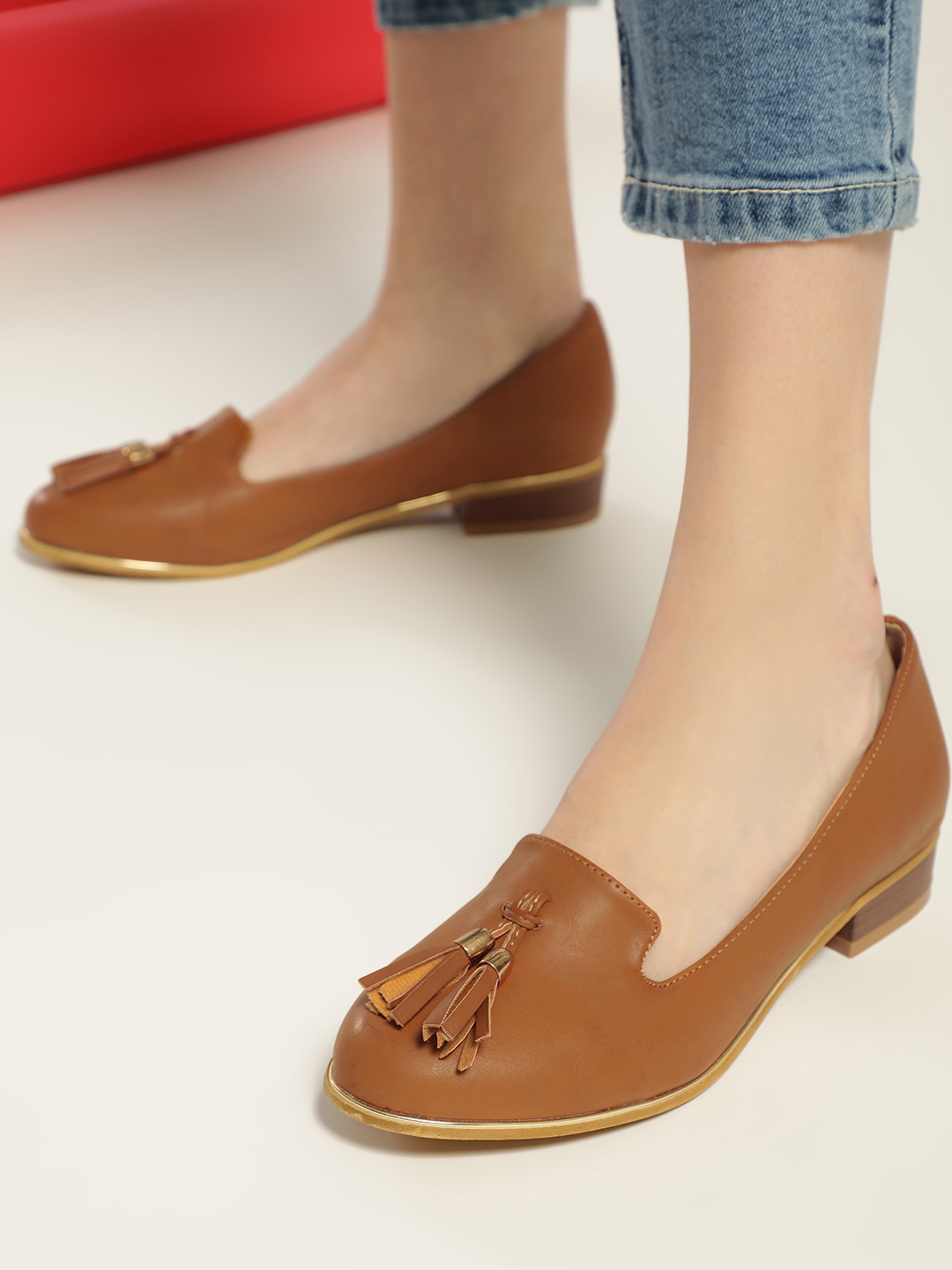 Truffle Collection Tan Basic Tassel Detail Loafers 1