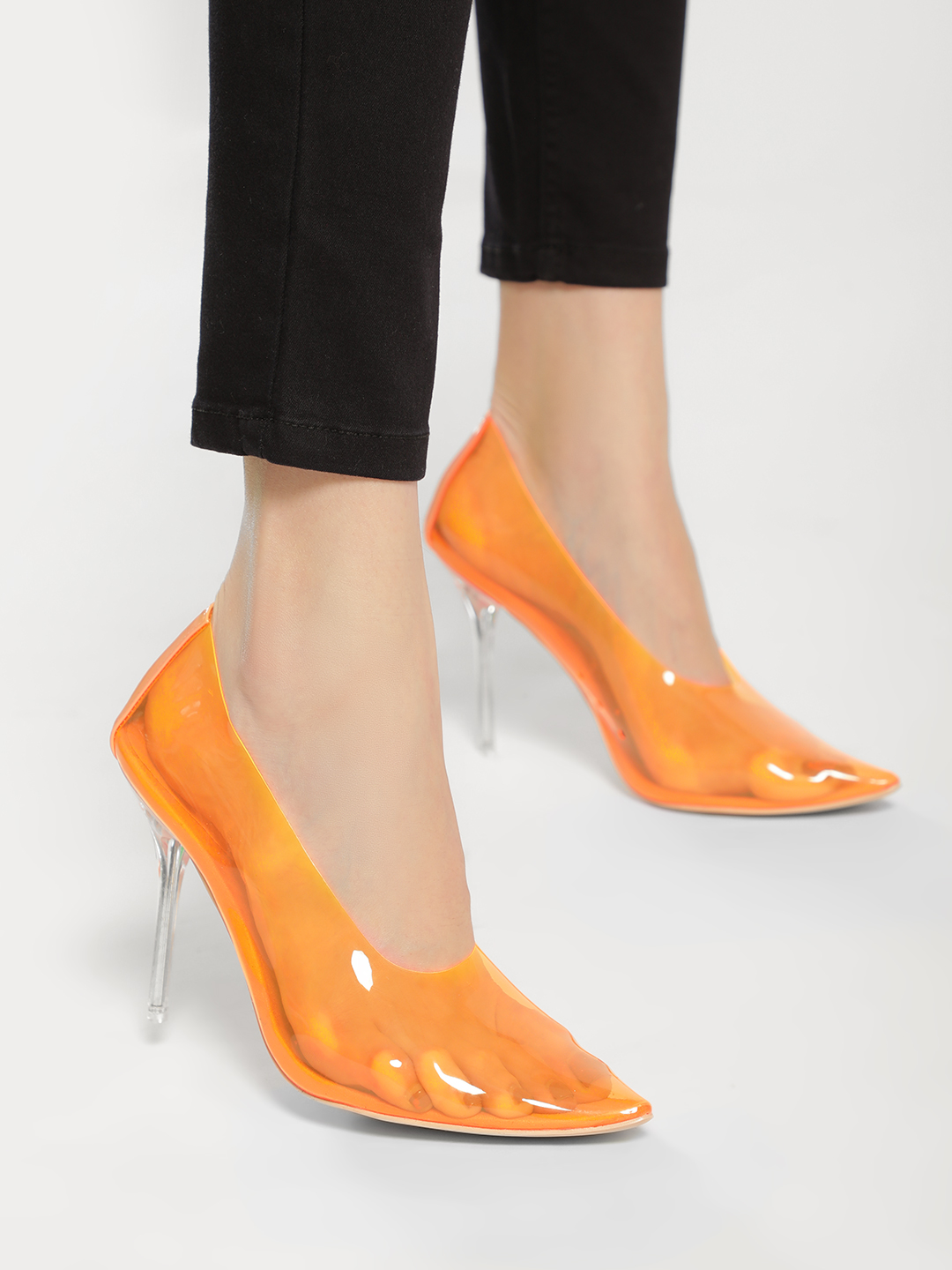Truffle Collection Orange Suede Perspex Perforated Pumps 1