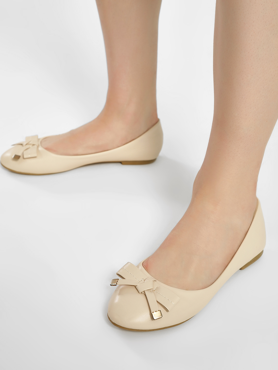 Truffle Collection Nude Basic Bow Detail Ballerinas 1