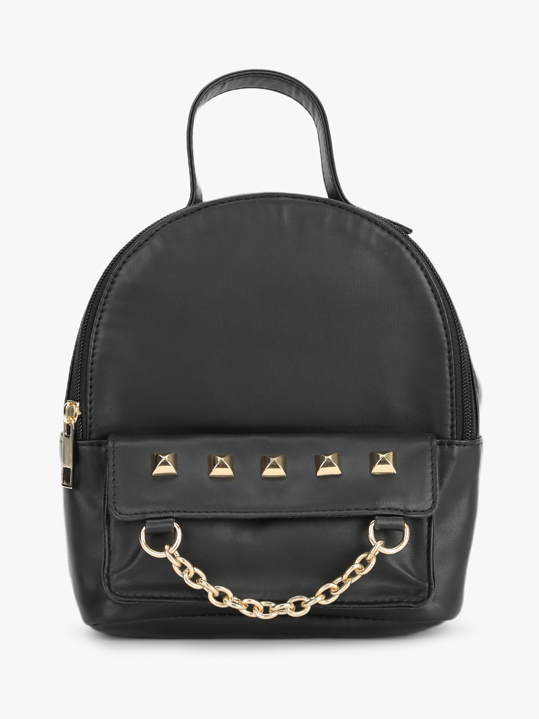 Gusto Black Studded Chain Detail Backpack 1
