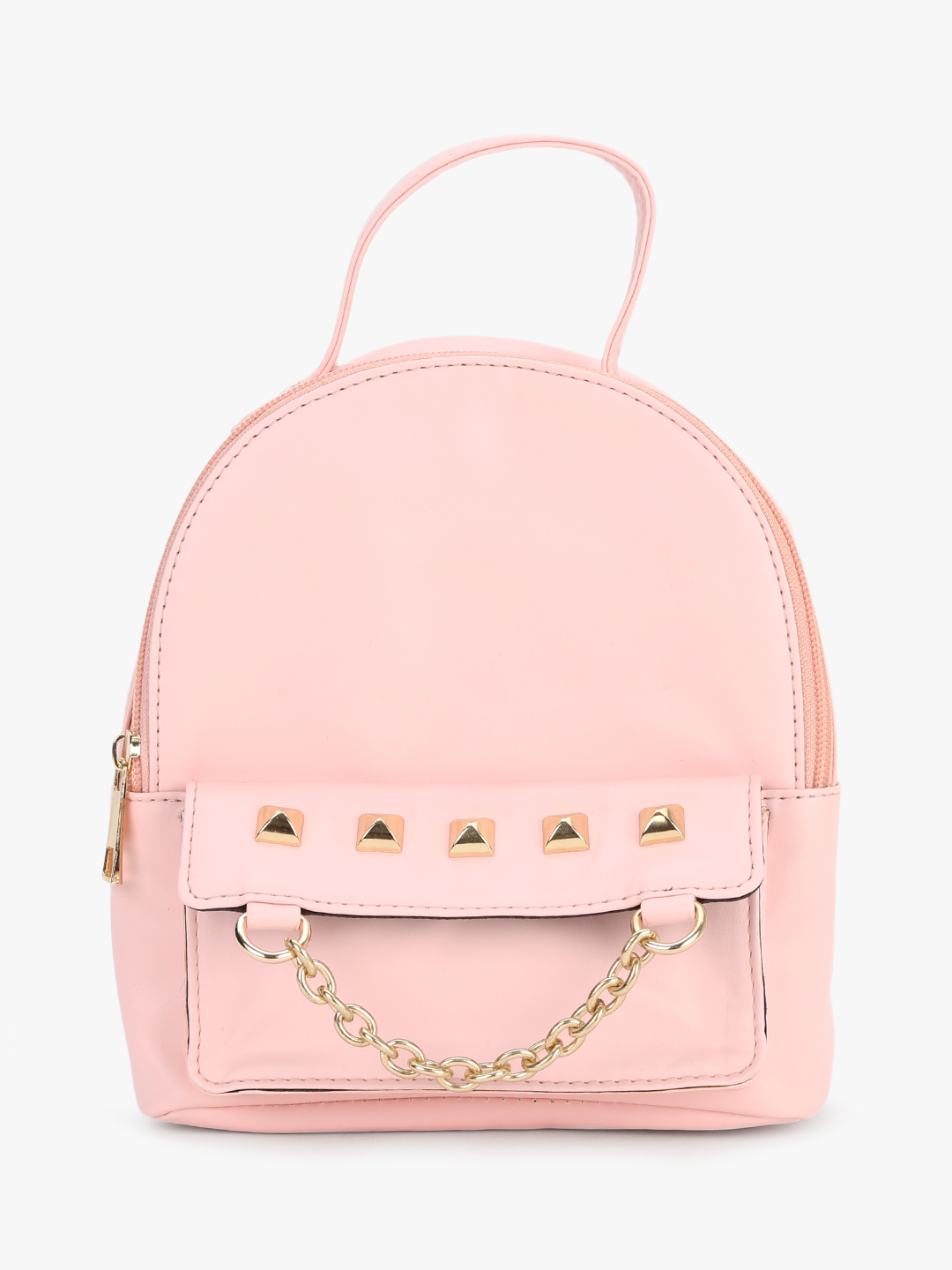 Gusto Pink Studded Chain Detail Backpack 1