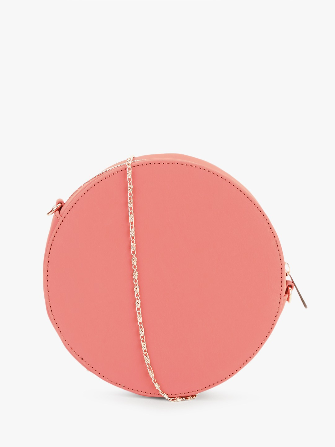 Gusto Pink Studded Round Sling Bag 1