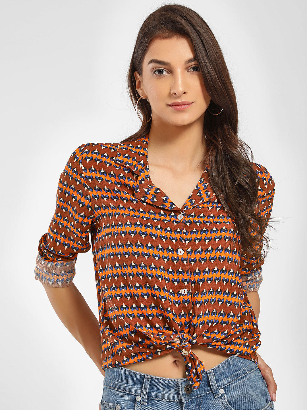 Only Brown Abstract Print Notched Collar Shirt 1