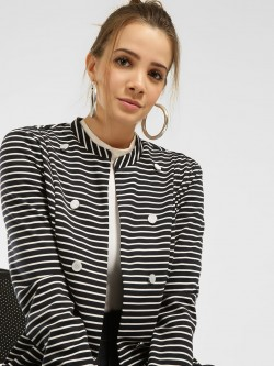 Vero Moda Horizontal Stripe Button Detail Blazer