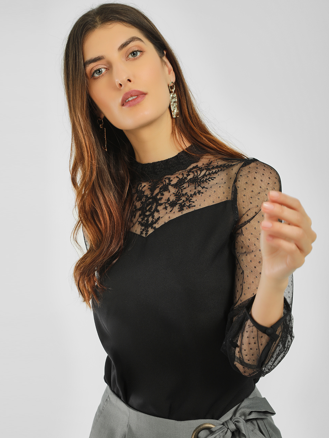 Vero Moda Black Embroidered Sheer Lace Top 1