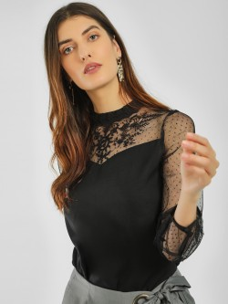 Vero Moda Embroidered Sheer Lace Top