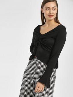 KOOVS Ruched Front Crop Top