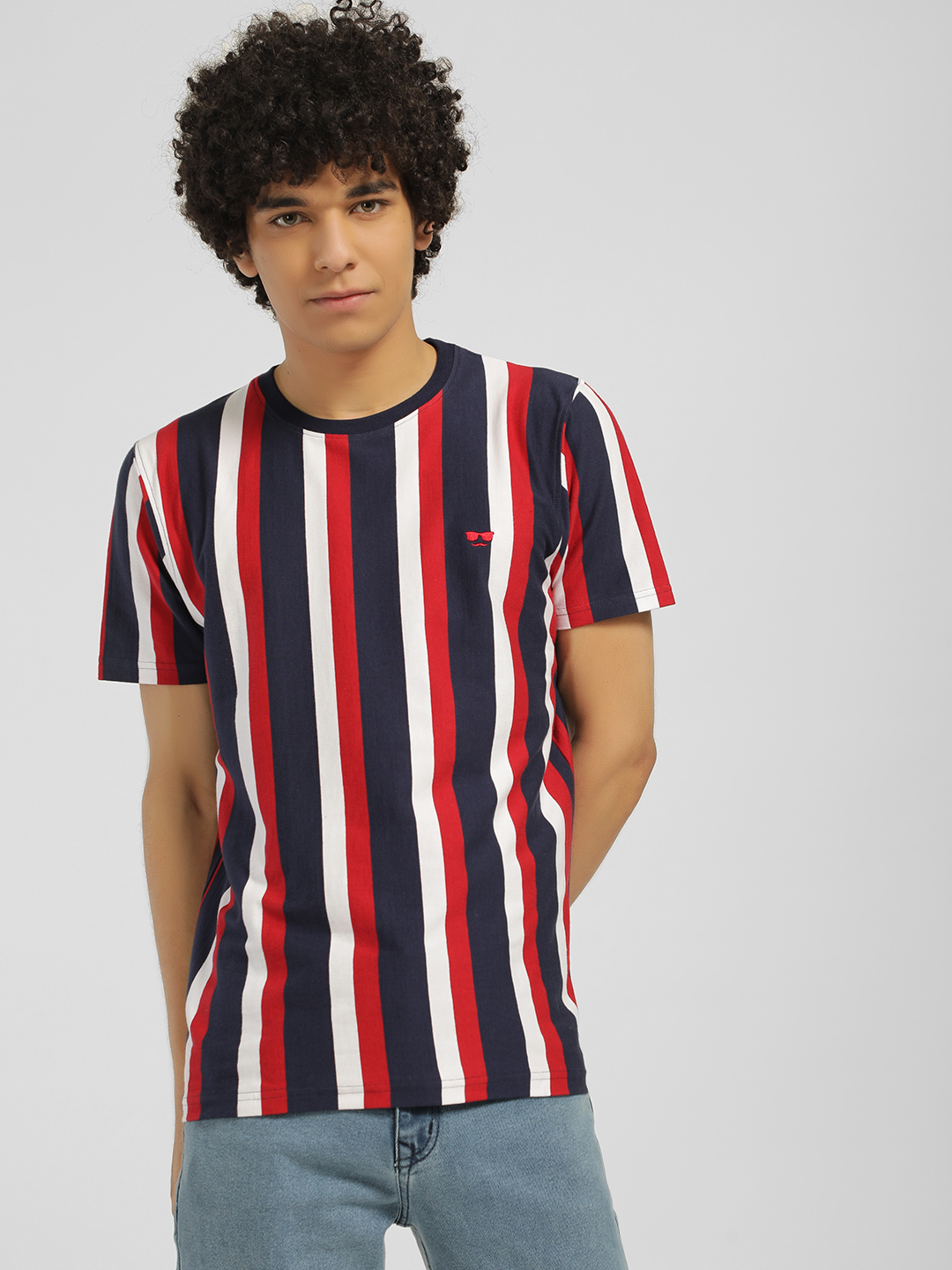 Garcon Red Vertical Stripe Short Sleeve T-Shirt 1