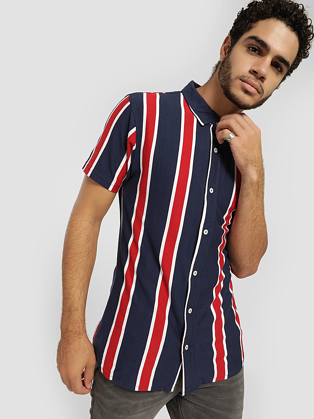 Garcon Blue Vertical Stripe Knitted Shirt 1