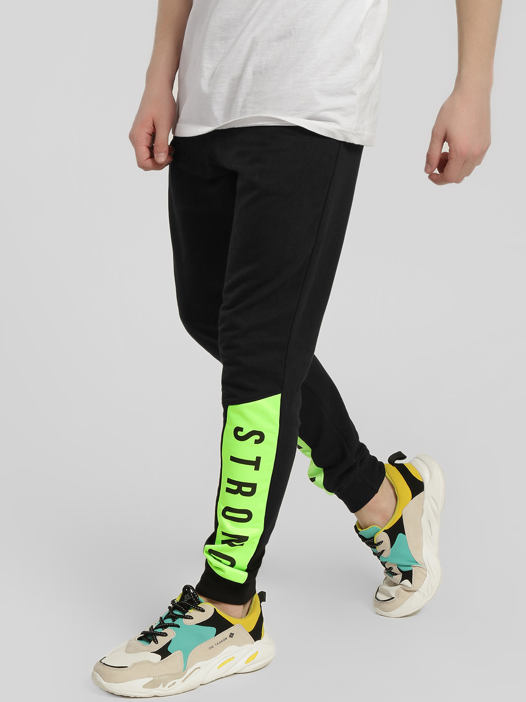Garcon Black Strong Print Panelled Joggers 1