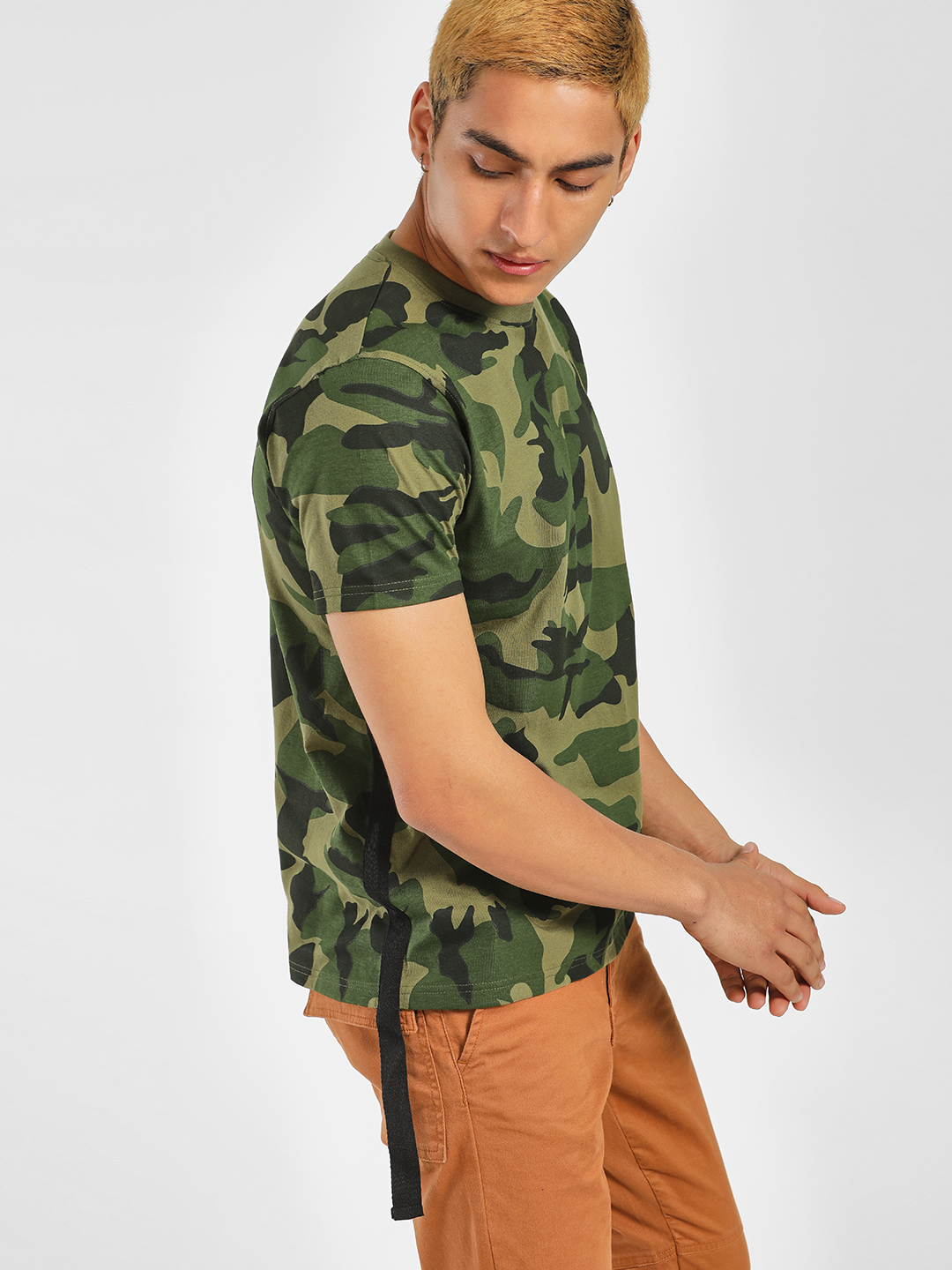 Garcon Green Camo Print Extended Tape T-Shirt 1