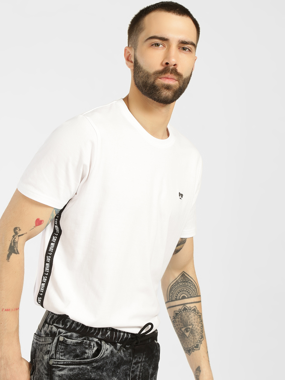 Garcon White Side Text Tape T-Shirt 1