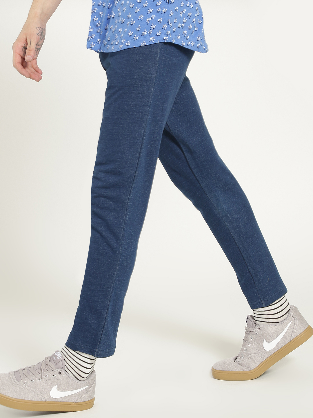 Garcon Blue Washed Cropped Slim Trousers 1