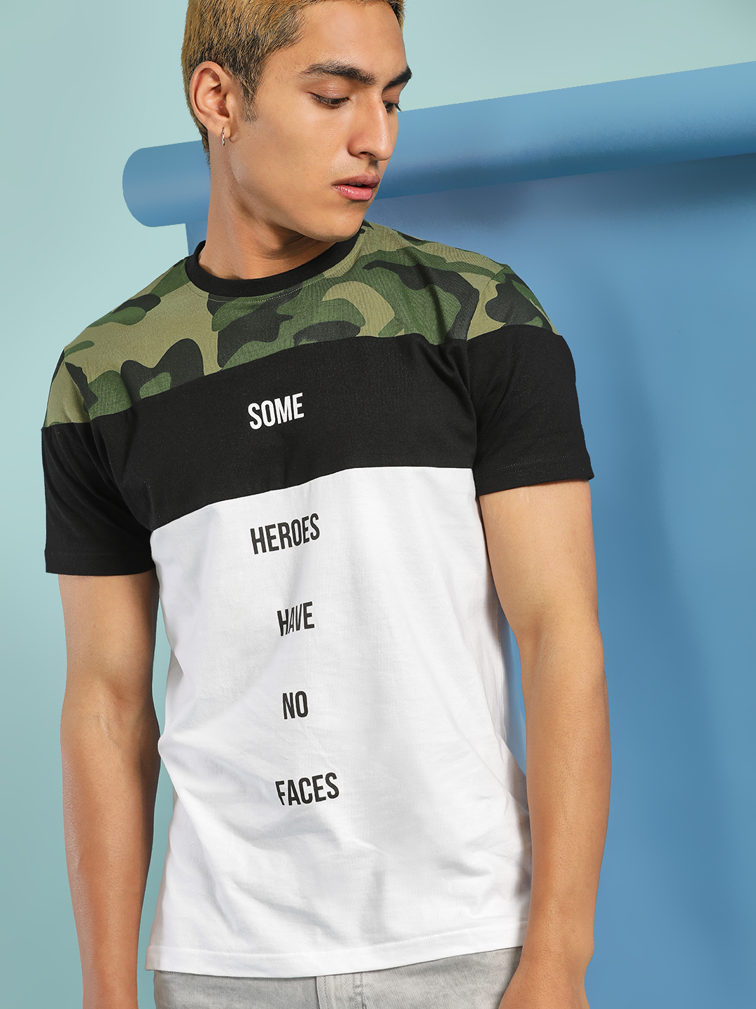 Garcon Multi Camo Panel Slogan Print T-Shirt 1