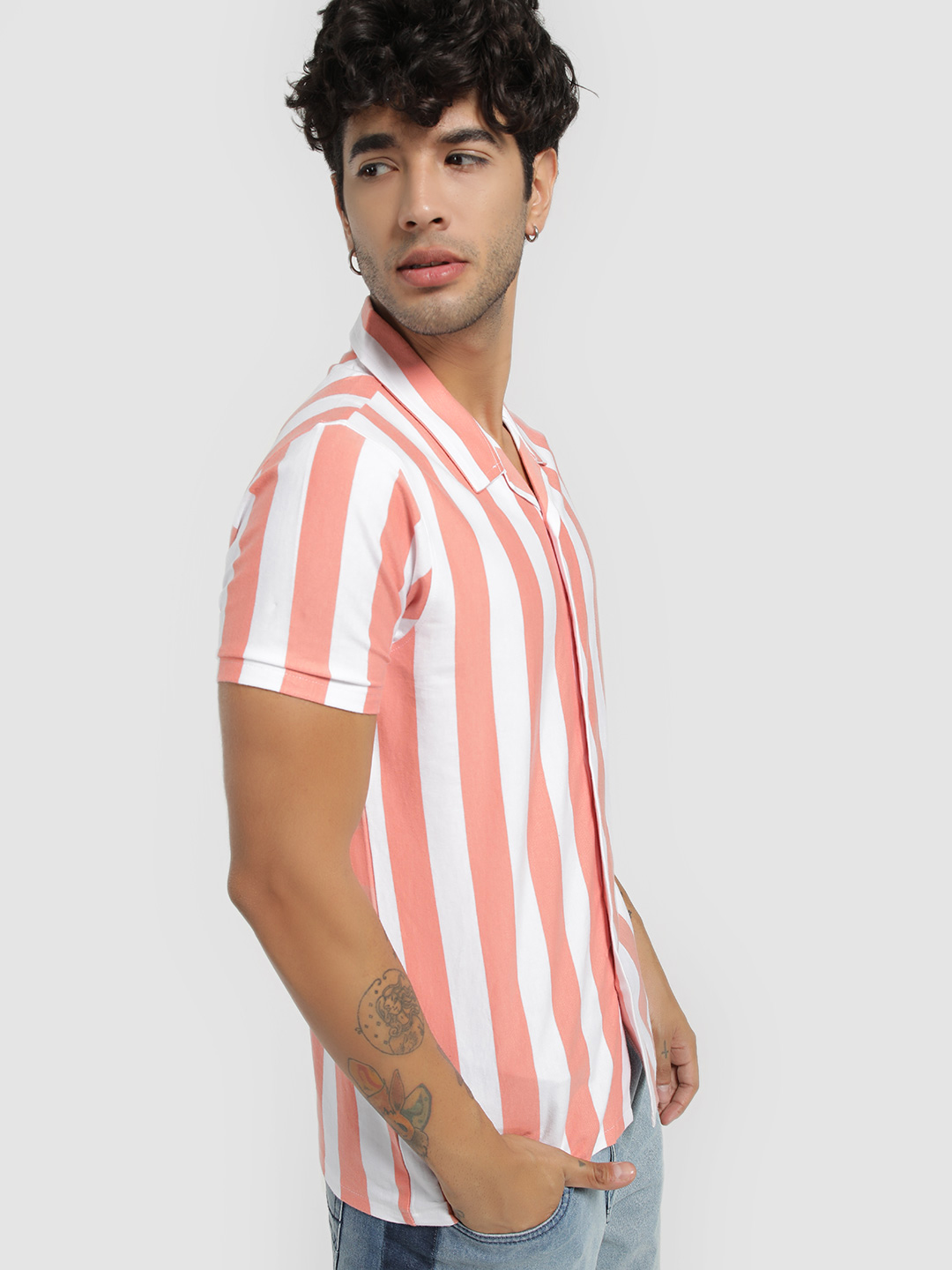Garcon Pink Vertical Stripe Cuban Collar Shirt 1