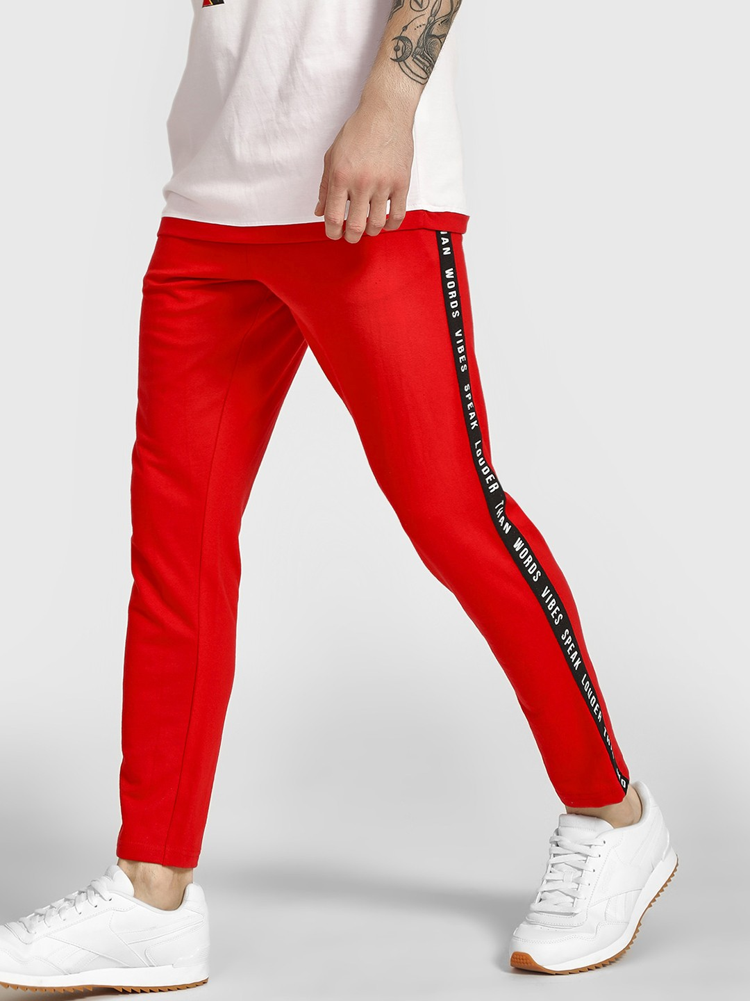 Garcon Red Slogan Print Side Tape Joggers 1