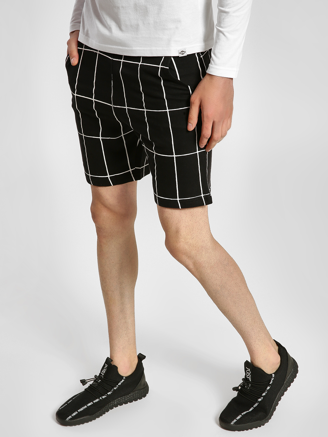 Garcon Black Windowpane Check Print Shorts 1
