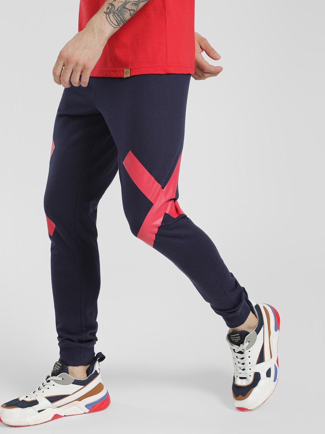 Garcon Blue Cross Tape Slim Joggers 1
