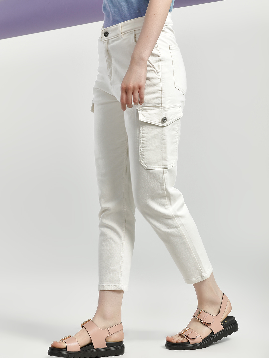 K Denim White KOOVS Mid Rise Cropped Slim Jeans 1