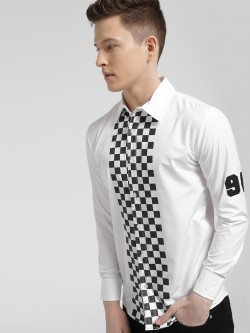 Fighting Fame Checkerboard Stripe Print Shirt