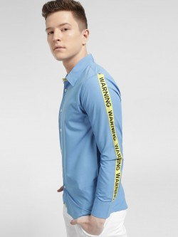 Fighting Fame Warning Side Tape Print Shirt