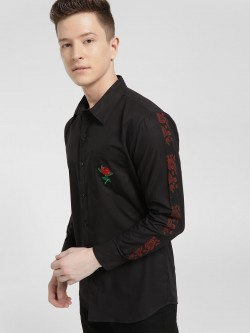 Fighting Fame Rose Embroidered Side Tape Shirt