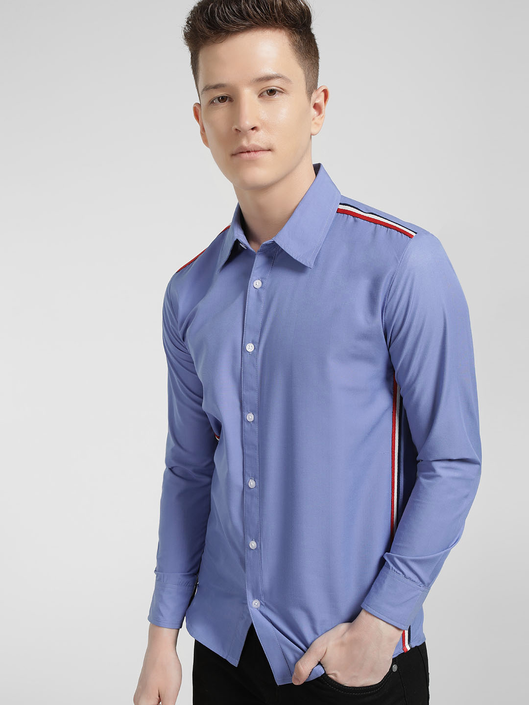 Fighting Fame Blue Contrast Side Tape Casual Shirt 1
