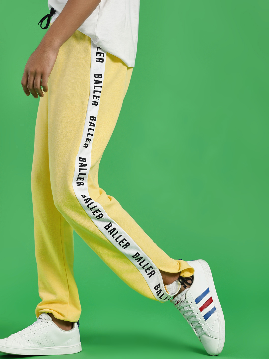Fighting Fame Yellow Baller Side Tape Joggers 1