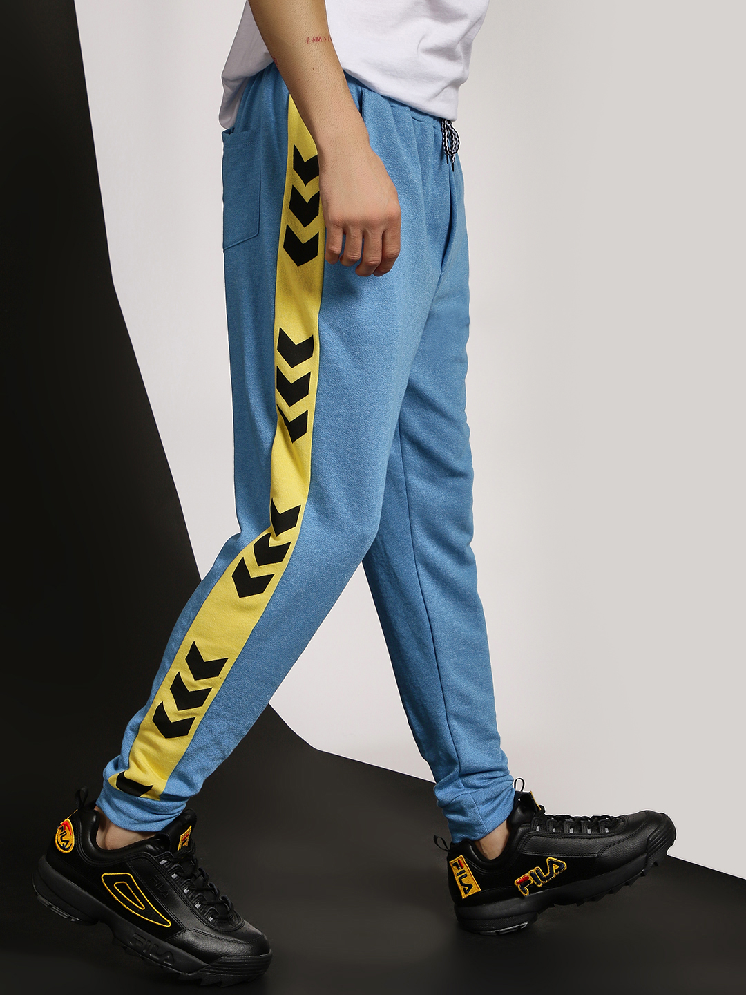 Fighting Fame Blue Track Print Side Tape Joggers 1