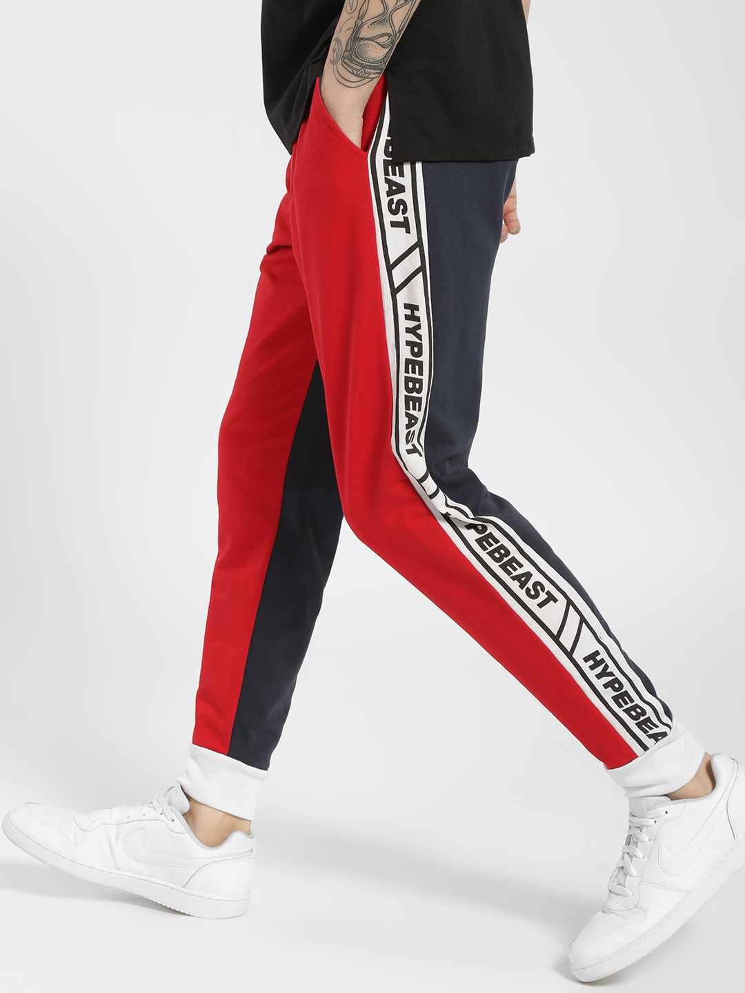 Fighting Fame Red Colour Block Text Tape Joggers 1