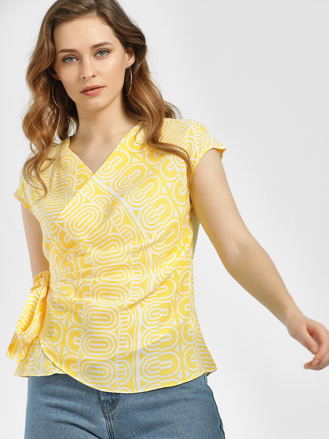 AND Yellow Geometric Print Side Tie-Up Top 1