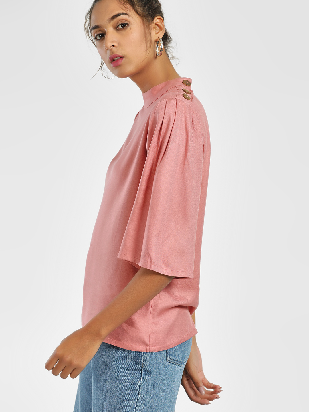 AND Pink Button Shoulder Boxy Top 1