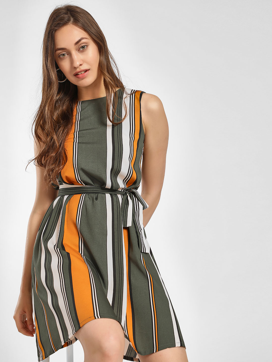 AND Green Vertical Stripe Belted Shift Dress 1