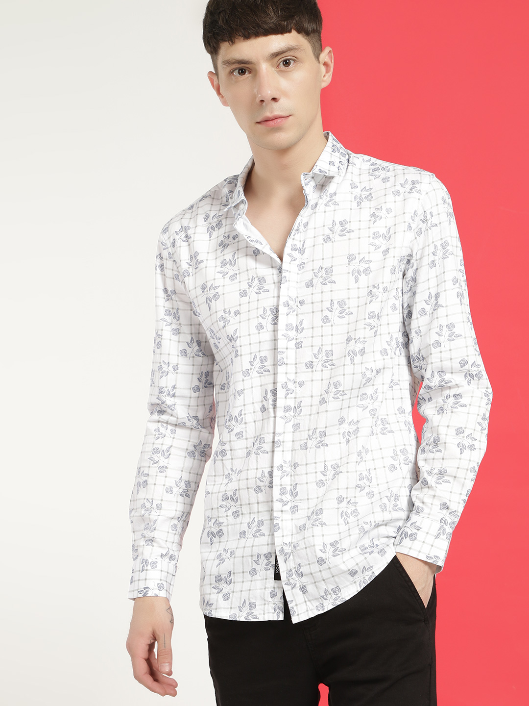 KOOVS Multi Floral Check Print Smart Shirt 1