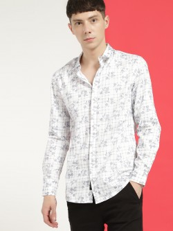 KOOVS Floral Check Print Smart Shirt