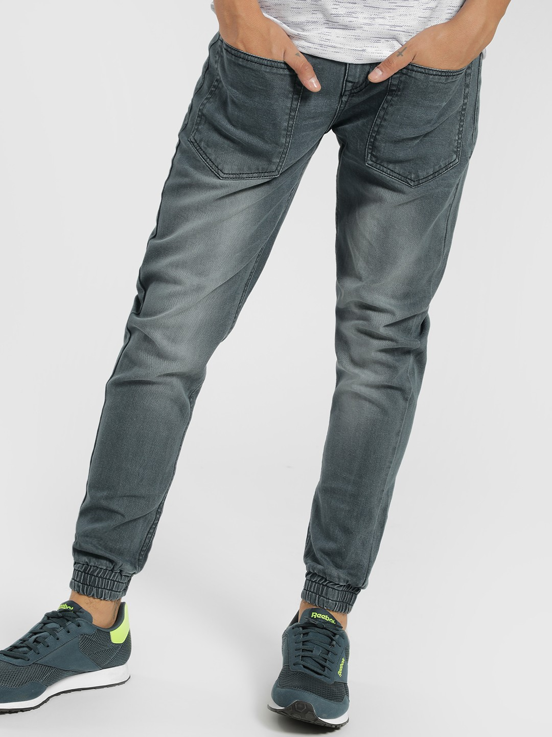 K Denim Grey KOOVS Light Wash Slim Joggers 1